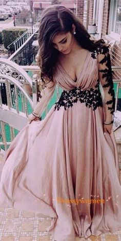 blush v-neck soft chiffon black appliques with long sleeves, 2016 prom party dresses, new arrival prom party dresses, low cut prom dresses