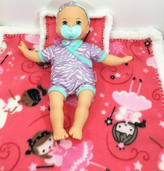 Princess Crochet Edge Fleece Doll Blanket With Matching Pillow, Handmade, Baby Doll Blanket, 16x16 or 18x18, #B16-72, 18-69 by MonaSewingTreasures on Etsy
