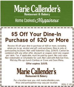 Pinned February 1st: $5 off $20 at Marie #Callenders restaurant & bakery #coupon via The #Coupons App Restaurant Marketing, Coupons, Bakery, Alcohol, App, Cooking, February, Rubbing Alcohol, Kitchen