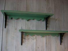 Matching Jade Green Shelves by Nottooshabbyshelves on Etsy, $75.00