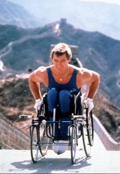 Rick Hansen - on the Great Wall of China