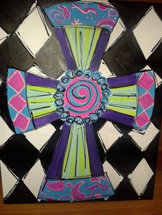 Hand Painted Cross by MACInspiredCrafts on Etsy, $50.00