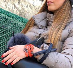 Mavala Nail Polish 72 Nice & Flame Orange Strappz as Bracelet with Luchadores Snappz Brappz Mavala Nail Polish, Athleisure, Charmed, Bracelet, Orange, Nice, Collection, Jewelry, Jewlery