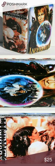 Labyrinth Wallet This wallet is a must for any Labyrinth fan. One side features David Bowie as the Goblin King with his crystal ball, and the other side features the ballroom scene. I can make this wallet either in hinge or top clasp style. This is a made to order listing so please allow a week (tops!) for the wallet to be customized and finish drying. Wallets are slim capacity and measurements are listed below. Other