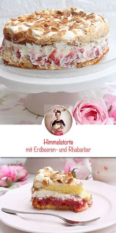 Heaven cake with strawberries and rhubarb – Obstkuchen Food Cakes, Diy Dessert, Bolo Fondant, A Food, Food And Drink, Food Items, Vanilla Cake, Cake Recipes, Bakery