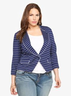 This suits you: Our Navy Striped Ponte Blazer.
