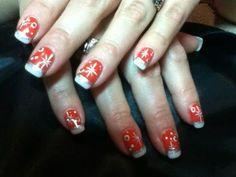 Red gel color nails, white tips, free hand christmas art, and gems