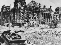 The wrecked Reichstag building in Berlin, with a destroyed German military vehicle in the foreground, at the end of World War II. Marlene made it into Berlin after the war, where she found widespread devastation and personal tragedy. World History, World War Ii, Kaiser Wilhelm, West Berlin, Total War, Military History, Wwii, Battle, Germany