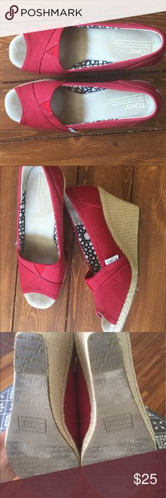 TOMS brick red wedges These shoes are gorgeous! Worn once, but are a bit too small for me. TOMS Shoes Wedges