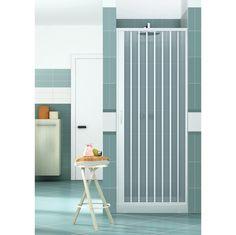 Porte de douche pliante H 185 cm, en PVC, avec aperture laterale - Plomberie sanitaire chauffage