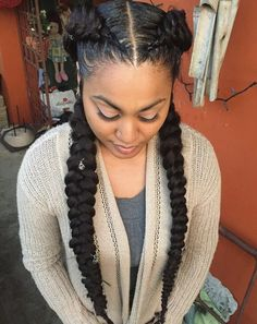 Easy and Showy Protective Hairstyles for Natural Hair Two Long Chunky Pierced BraidsTwo Long Chunky Pierced Braids Protective Hairstyles For Natural Hair, Straight Weave Hairstyles, Braided Hairstyles For Black Women, Braids For Black Hair, Box Braids Hairstyles, Cool Hairstyles, Teenage Hairstyles, Black Hairstyles, Summer Hairstyles