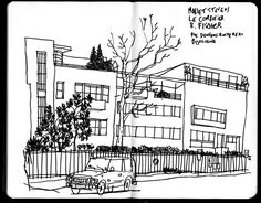Mallet Stevens, Expositions, Urban Sketchers, Philippe, Le Corbusier, Architectural Drawings, Illustrations, Paris, Architecture