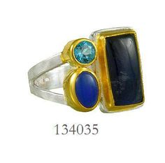 Rainbow Moonstone, Kyanite and Blue Topaz ring   - Constellation Collection