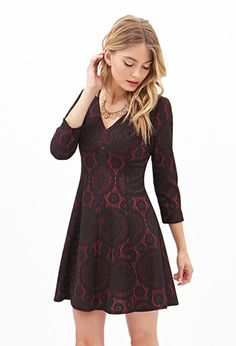 Crochet Lace Fit & Flare Dress | FOREVER21 - 2000066801