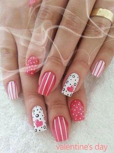 Pretty Nails for Valentine's Day fashion nails pink heart nail polish glitter nail art manicure valentine's day nail design