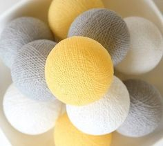 Slb332 pastel yellow grey #white #cotton ball string lights - bedroom #wedding pa, View more on the LINK: http://www.zeppy.io/product/gb/2/251631993006/