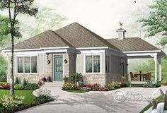 Discover the plan 3124 - Maryann from the Drummond House Plans house collection. Economical 2 bedroom Bungalow home plan with covered terrace and ceiling. Bungalow House Plans, Bungalow Homes, New House Plans, Small House Plans, House Floor Plans, Ranch Homes, Duplex House, Cottage Plan, Cozy Cottage