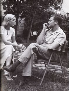 Leo and Kate - a Revolutionary Road - b & w - in yard chairs