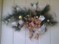 "Handmade Gold Christmas Swag Wreath Deco Mesh,Burlap, and Ribbon 32""Across #LazyDaysPaintings"