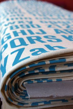 1 meter 'Akzidenz' screen printed blue on hemp/organic by spinspin, $70.00
