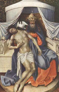 Holy Trinity by Robert Campin Catholic Art, Catholic Saints, Religious Icons, Religious Art, Robert Campin, Life Of Christ, Jesus Christ, Anima Christi, Father Son Holy Spirit