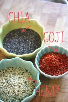 Chia Goji Hemp Smoothie, added raspberries, cashews, maple syrup, raw cacao, and almond milk as well - vw