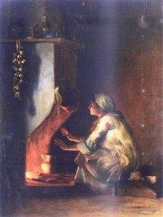 Theodoros Rallis was a Greek painter, watercolourist and draughtsman, who spent most of his working life in Paris, France and in Egypt. School of French Academy. - Young Girl by a Fire Greek Paintings, Baroque Painting, Painting Art, Greek Art, 10 Picture, Chiaroscuro, Beauty Art, Love Art, Impressionism
