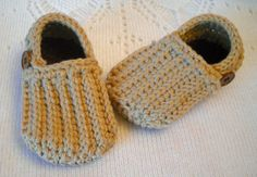 Crocheted Baby Boy Booties Shoes