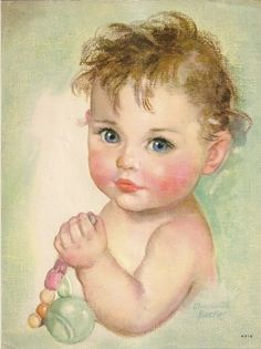 "Charlotte Becker Calendar Embossed Litho Baby with Rattle 7½"" X 10"""