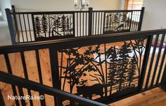 #Stair and #Balcony #Railings with custom railing panel inserts and alternating spindles. We design your product with custom welding and powder-coating for a low maintenance & easy installation. See www.NatureRails.com for more inspiration.