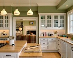 Superieur Beauty Exlusive And Paint Color For Kitchen : Amazing Kitchen And Wonderful  With Green Wall Color And Nice Chandelier With Countertop And Small Window  And ...