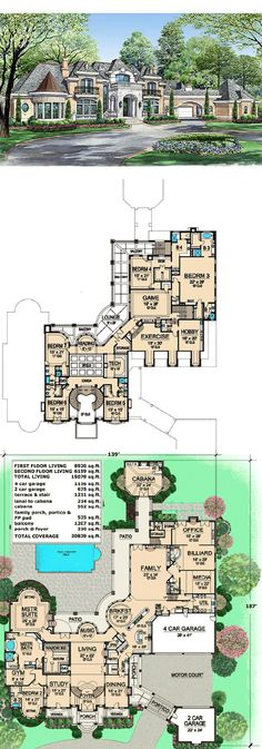 Estate Home Plan with Cabana Room