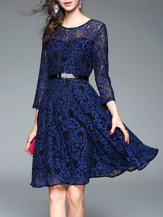 Blue Long Sleeve Cotton-blend Pierced Floral Midi Dress with Belt