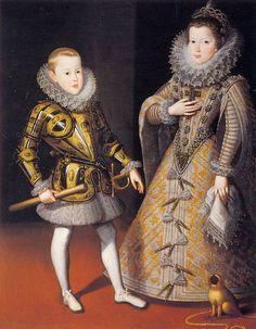 Felipe, Príncipe de Asturias y La Infanta Ana Mauricia, futura reina de Francia como esposa de Luis XIII y madre de Luis XIV.