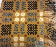 Vtg Welsh Pure Wool Woven Tapestry Blanket Bed Cover 66 X 79 Fringe Double/full