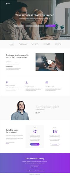 Semi is a modern and simple #PSD template for #corporate landing page website download now➩  https://themeforest.net/item/semi-service-landing-page-psd-template/19495920?ref=Datasata
