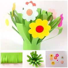 Planning an art lesson? Make this paper flower bouquet with the little one's for Mother's Day.