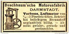 Original-Werbung/ Anzeige 1898 - BUSCHBAUM'SCHE MOTORENFABRIK DARMSTADT - ca. 45 x 25 mm