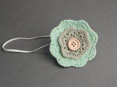 Baby headband - Newborn headband - Layered crochet flower headband - Photo prop. $10.95, via Etsy.