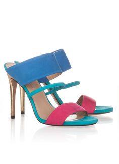 Sandalias de tacón alto en ante multicolor