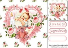 Our Beautiful Daughter baby girl with hearts roses 8x8 on Craftsuprint - Add To Basket!