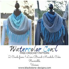Watercolor Cowl free crochet pattern from Blackstone Designs Made using Lion Brand Mandala, you can get 2 cowls from 1 cake, it's completely reversible and it's great for the guys too! #crochet #women #men #cowl #lionbrandyarns #lionbrandmandala