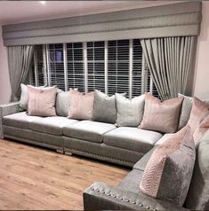 Large corner sofa and curtains completed for our happy customers We are taking orders for pre-Christmas delivery Corner Sofa Living Room Layout, Living Room Sofa, Living Rooms, Selling Furniture, Luxury Furniture, Crushed Velvet Living Room, Furniture Styles, Furniture Design, Gray Interior