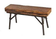 heavy duty c. 1940's american repurposed industrial four-legged bent tubular steel bench with old growth pine wood slab seat