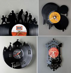 Luella.. when Kevin gets sick of his record collection ;) Vinyl clocks by Pavel Sidorenko
