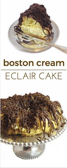 Boston Cream Eclair Cake: you just gotta love Boston! Delicious pastry cake, surprisingly simple to make. Cake for kid Brownie Desserts, Oreo Dessert, Mini Desserts, Just Desserts, Delicious Desserts, Yummy Food, Baking Recipes, Cake Recipes, Dessert Recipes