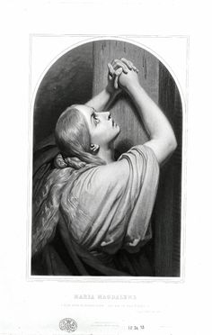 The weeping magdalene praying at the cross; after Scheffer. Engraving with etching and aquatint. Santa Maria, Mary Magdalene, Catholic Art, British Museum, Mona Lisa, Saints, Artwork, Sims 4, Religion