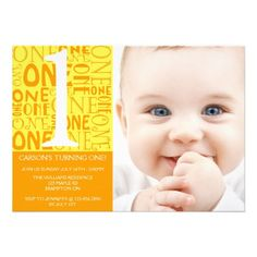 Collage First Birthday Invitation - Orange