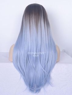 Black to Blue Ombre Straight Lace Front Synthetic Blue Hair Black Blue Front Lace ombre Straight Synthetic Pastel Blue Hair, Brown Ombre Hair, Blue To Black Hair, Baby Blue Hair, Periwinkle Hair, Light Purple Hair, Blue Wig, Pretty Hair Color, Beautiful Hair Color