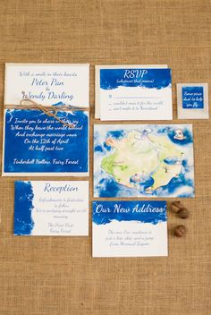 My Peter Pan Wedding Inspiration Shoot ~ watercolor blue and white invitation suite with magical and whimsical Peter Pan touches